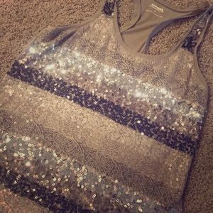 Sequin and lace racerback tank